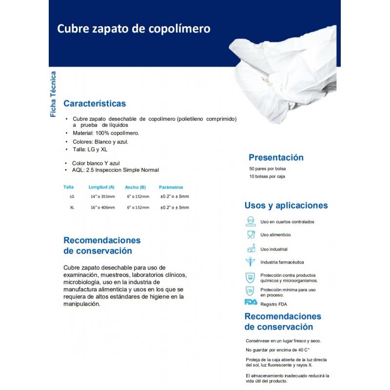 CUBRE ZAPATO IMPERMEABLE COLOR BLANCO C/50 PARES